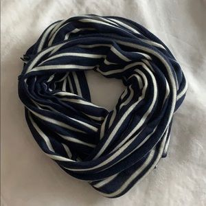 NAUTICA navy and white knit infinity scarf